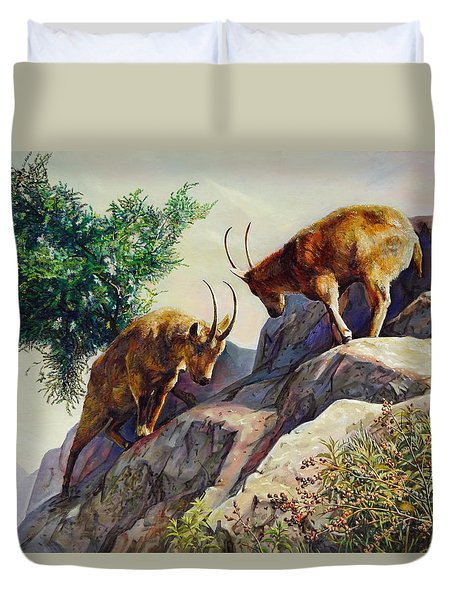 Mountain Goats - Powerful Fight  Duvet Cover