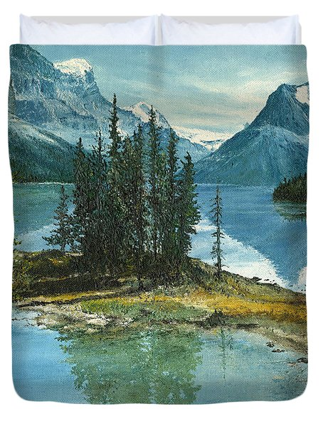 Duvet Cover featuring the painting Mountain Island Sanctuary by Mary Ellen Anderson