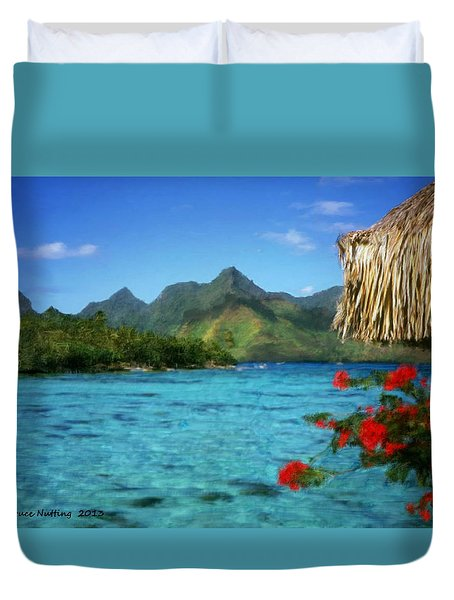 Duvet Cover featuring the painting Mountain Lake by Bruce Nutting