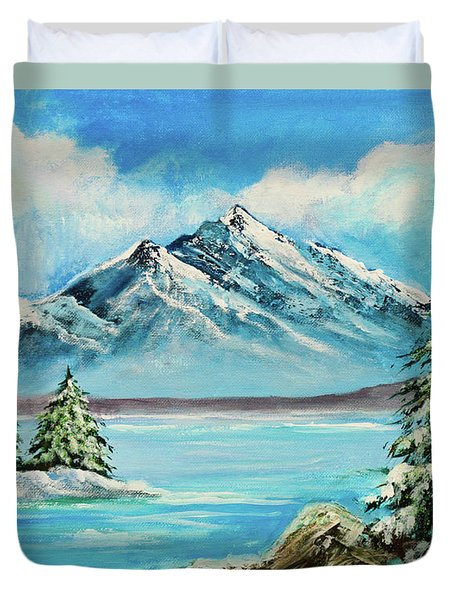 Duvet Cover featuring the painting Mountain Lake In Winter Original Painting Forsale by Bob and Nadine Johnston