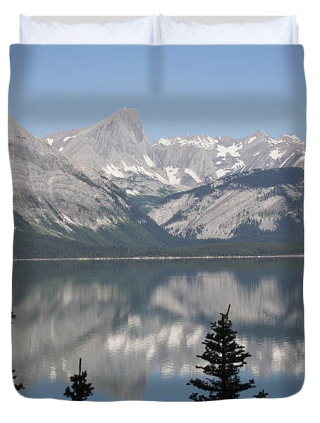 Mountain Lake Reflecting Mountain Range Duvet Cover by Michael Interisano