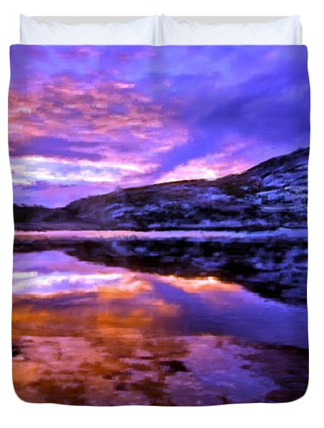 Duvet Cover featuring the painting Mountain Lake Sunset by Bruce Nutting