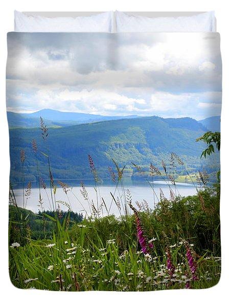 Mountain Lake Viewpoint Duvet Cover by Carol Groenen