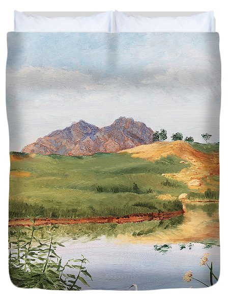 Mountain Landscape With Egret Duvet Cover
