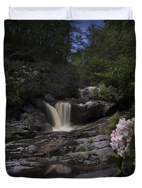 Mountain Laurel And Falls On Small Stream Duvet Cover by Dan Friend