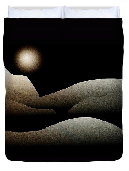 Mountain Moonlight Landscape Art Duvet Cover by Christina Rollo