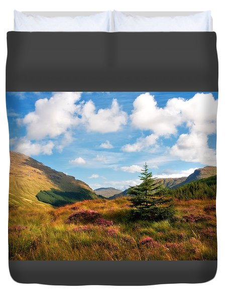 Mountain Pastoral. Rest And Be Thankful. Scotland Duvet Cover by Jenny Rainbow
