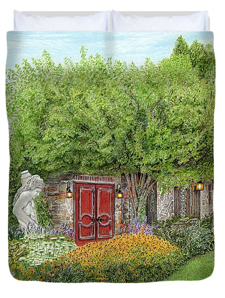 Duvet Cover featuring the painting Mountain Playhouse Jennerstown Pa by Albert Puskaric