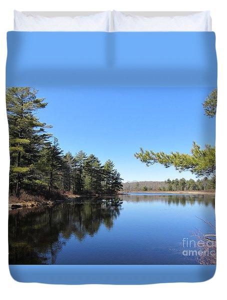Duvet Cover featuring the photograph Mountain Pond - Pocono Mountains by Susan Carella