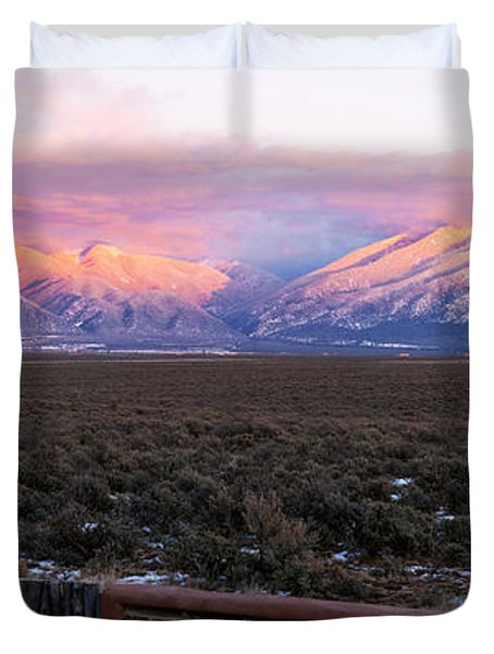 Mountain Range Viewed From A Adobe Duvet Cover