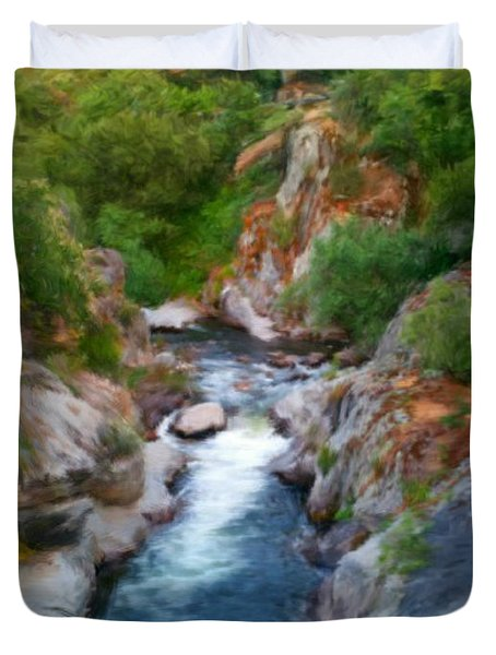 Duvet Cover featuring the painting Mountain Stream by Bruce Nutting