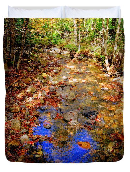 Mountain Stream Covered With Fall Leaves Duvet Cover
