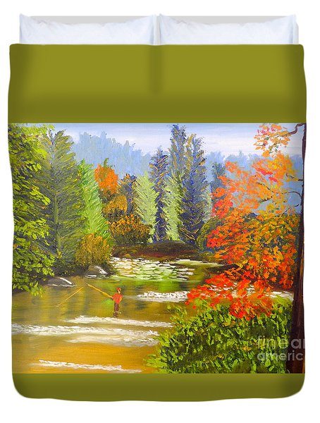 Duvet Cover featuring the painting Mountain Stream by Pamela  Meredith