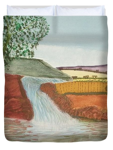 Duvet Cover featuring the painting Mountain Stream by Tracey Williams
