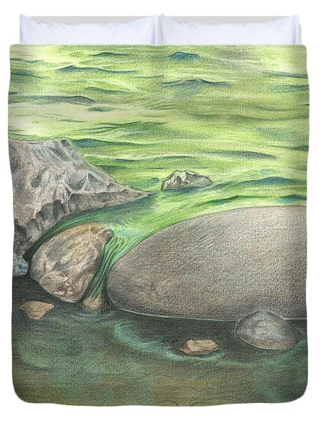 Duvet Cover featuring the drawing Mountain Stream by Troy Levesque
