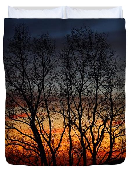 Duvet Cover featuring the photograph Mountain Sunset by Kathryn Meyer