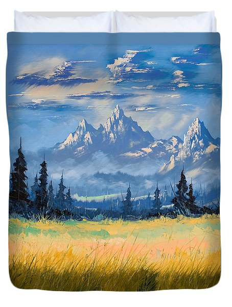 Duvet Cover featuring the painting Mountain Valley by Richard Faulkner