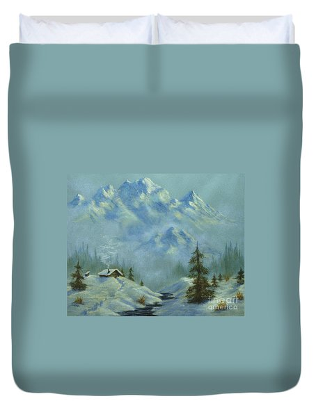 Mountain View With Creek Duvet Cover