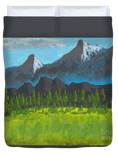 Duvet Cover featuring the painting Mountain Vista by David Jackson