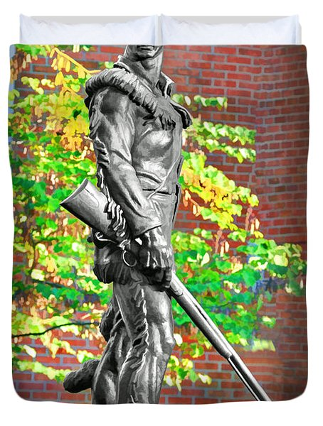 Mountaineer Statue Duvet Cover