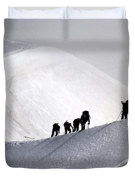 Mountaineers To Conquer Mont Blanc Duvet Cover