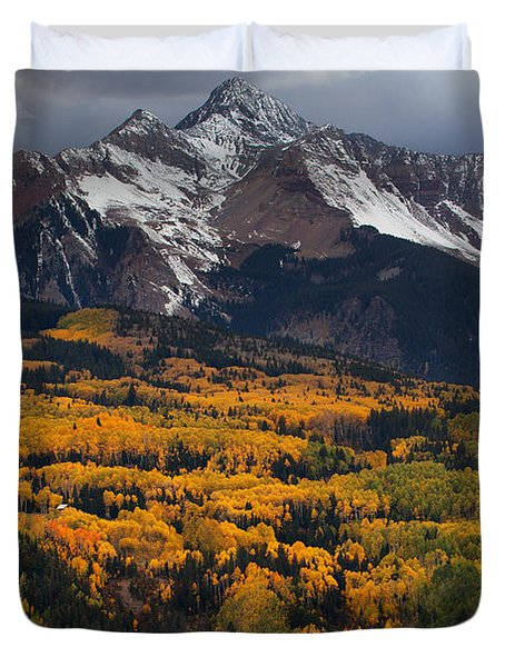 Mountainous Storm Duvet Cover by Darren  White