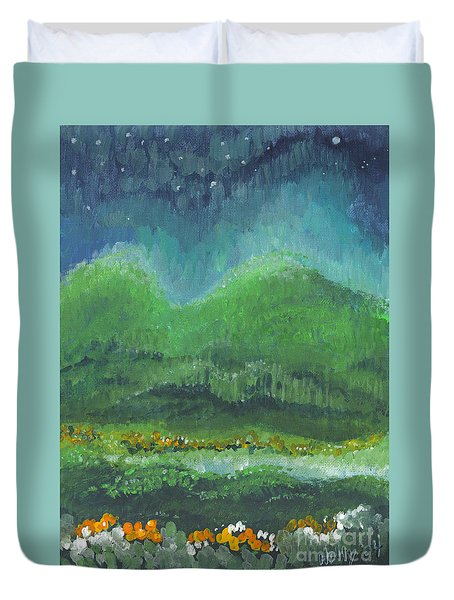 Mountains At Night Duvet Cover