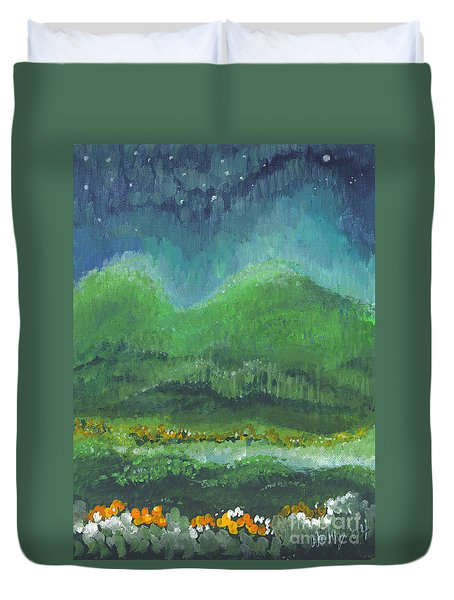Duvet Cover featuring the painting Mountains At Night by Holly Carmichael