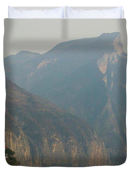 Mountains At The Riverside, Yangtze Duvet Cover