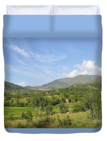 Duvet Cover featuring the photograph Mountains Sky And Clouds Swat Valley Pakistan by Imran Ahmed
