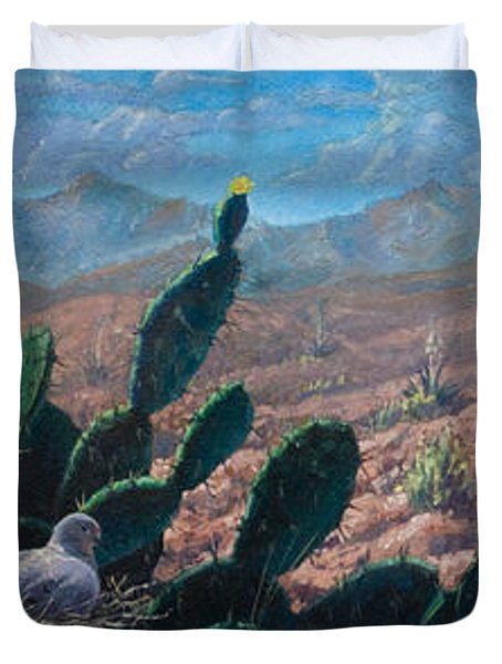 Duvet Cover featuring the painting Mourning Dove Desert Sands by Rob Corsetti