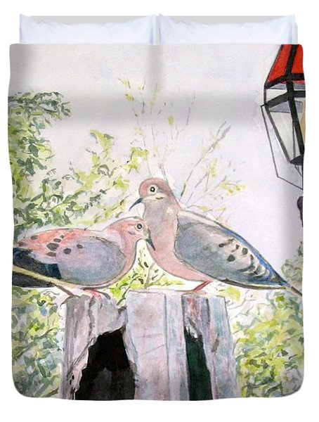 Duvet Cover featuring the painting Mourning Doves by Carol Flagg