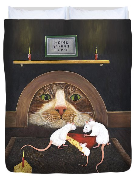 Duvet Cover featuring the painting Mouse House by Karen Zuk Rosenblatt