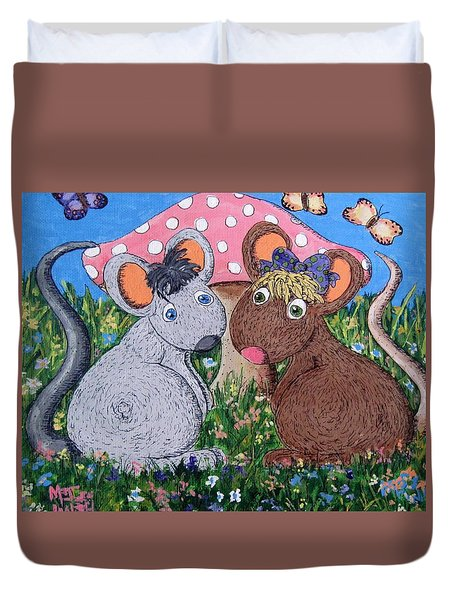 Duvet Cover featuring the painting Mouse World by Megan Walsh