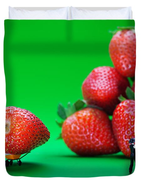 Duvet Cover featuring the photograph Moving Strawberries To Depict Friction Food Physics by Paul Ge