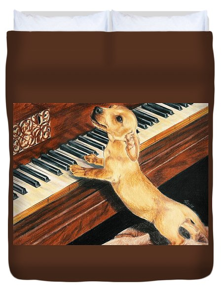 Duvet Cover featuring the drawing Mozart's Apprentice by Barbara Keith