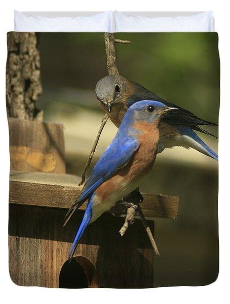 Mr. And Mrs. Bluebird Duvet Cover