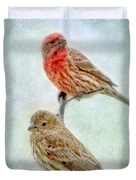 Mr And Mrs House Finch Digital Paint Duvet Cover by Debbie Portwood
