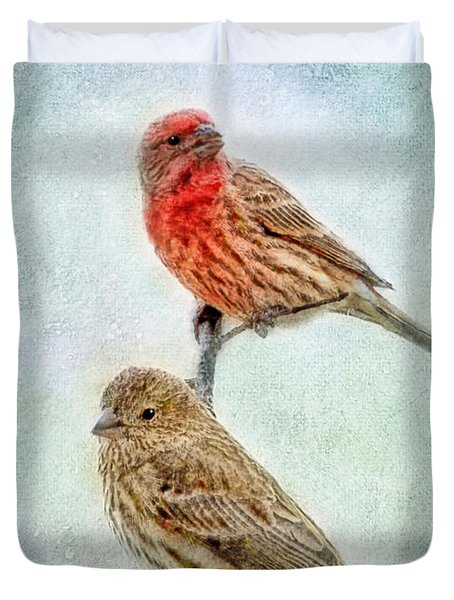Mr And Mrs House Finch Digital Paint With Frame Duvet Cover by Debbie Portwood