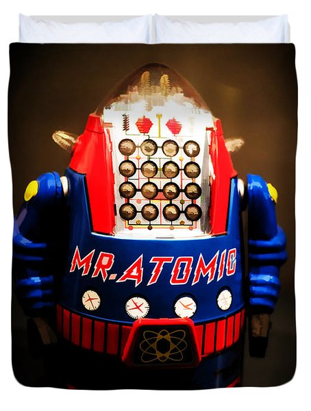 Mr. Atomic Tin Robot Duvet Cover by Edward Fielding
