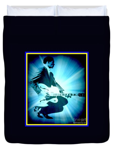 Mr Chuck Berry Blueberry Hill Style Edited Duvet Cover by Kelly Awad