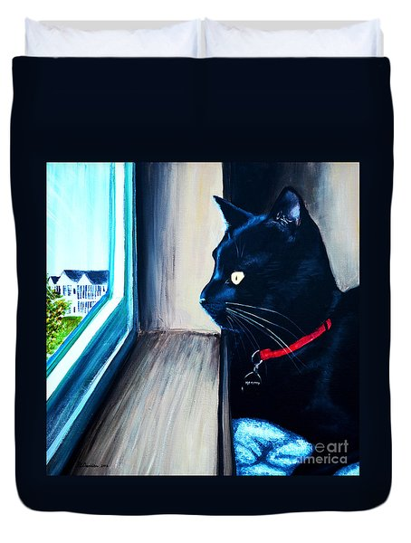 Mr Kitty Duvet Cover by Patricia L Davidson