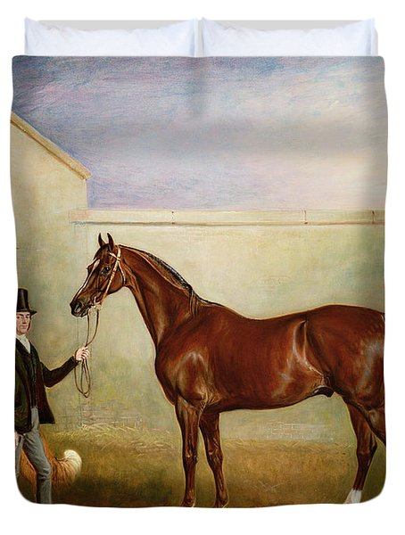 Mr Meakin Holding Sir Robert Peels Chestnut Hunter With His Dogs Hector And Jem Duvet Cover by John E Ferneley