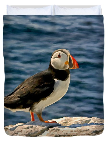 Mr. Puffin Duvet Cover by Michael Pickett