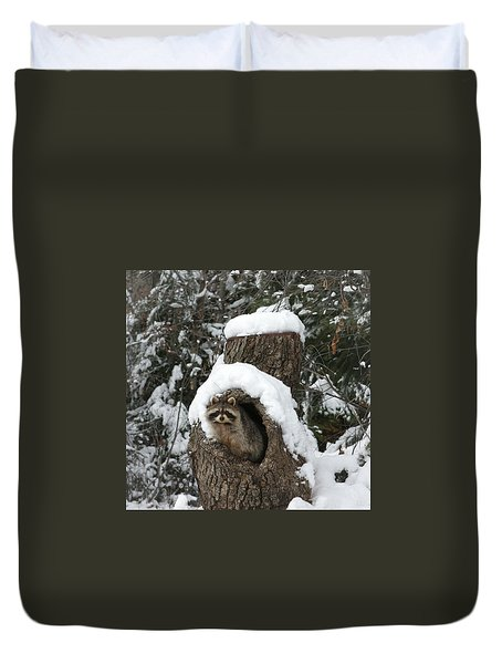 Mr. Raccoon Duvet Cover