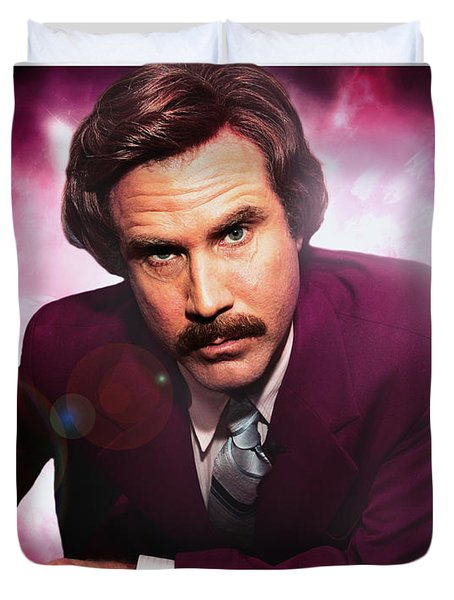 Mr. Ron Mr. Ron Burgundy From Anchorman Duvet Cover by Nicholas  Grunas