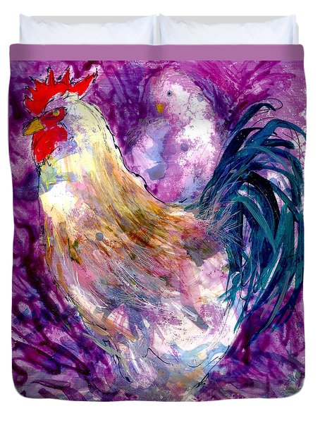 Duvet Cover featuring the painting Mr. Rooster  by Joan Hartenstein