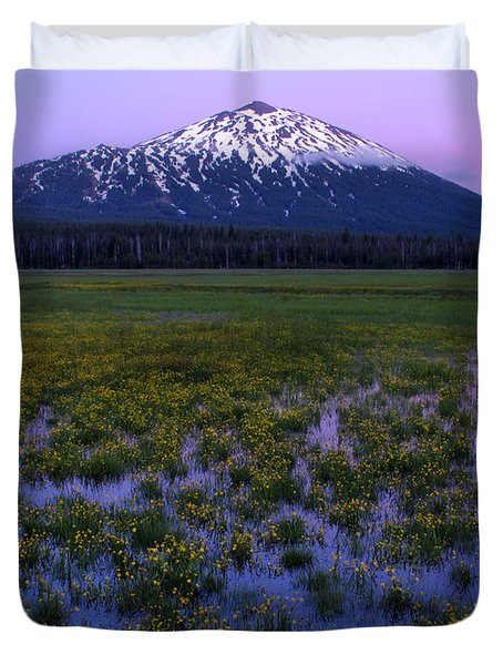Duvet Cover featuring the photograph Mt. Bachelor Twilight by Kevin Desrosiers