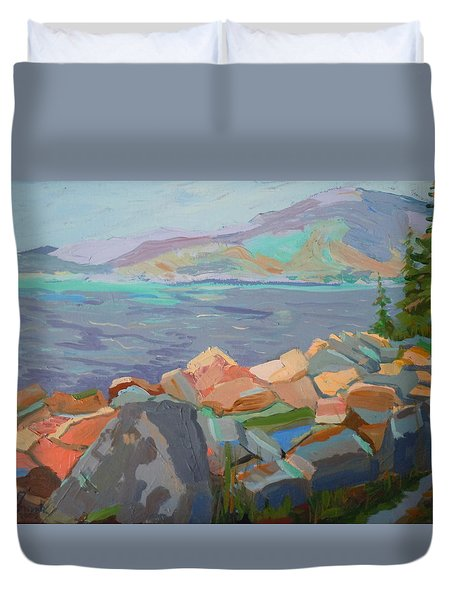 Duvet Cover featuring the painting Mt. Desert From Schoodic Point by Francine Frank
