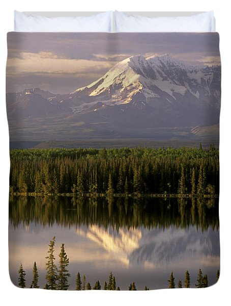 Mt Drum Over Willow Lake Wrangell-st Duvet Cover by Calvin Hall